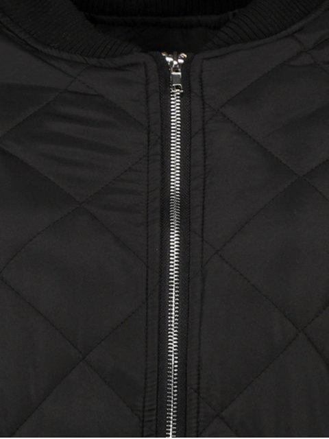 women's Argyle Stand Neck Solid Color Jacket - BLACK M Mobile
