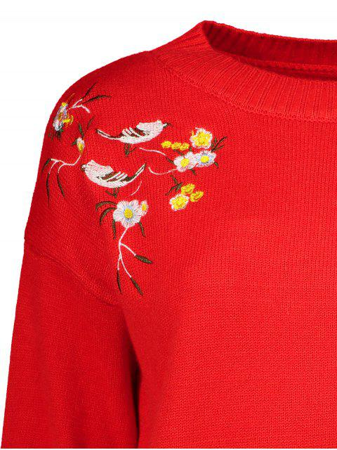 unique Slit Embroidered High-Low Sweater - RED ONE SIZE Mobile