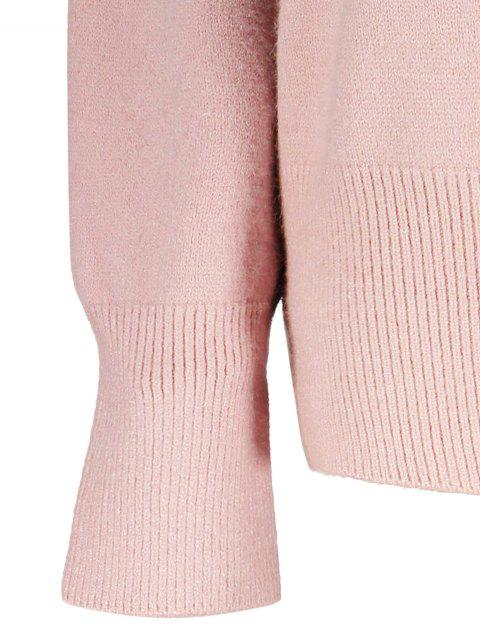 women's V Neck Long Sleeve Pullover Knitwear - PINK ONE SIZE Mobile