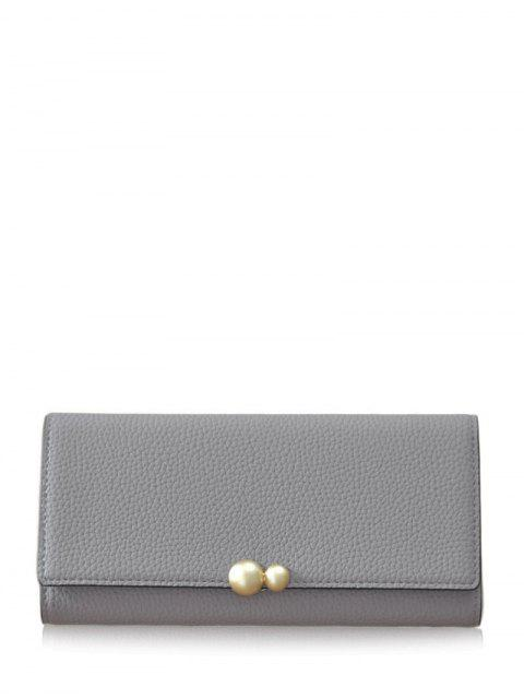 chic Textured Tri Fold Clutch Wallet - GRAY  Mobile