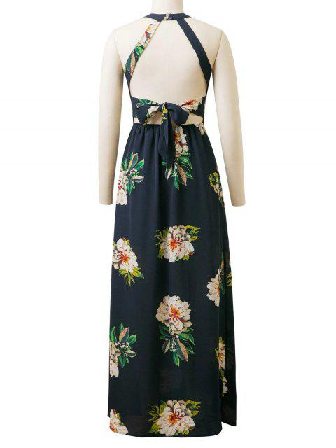 hot Backless Floral Dress With Ladder Detail - PURPLISH BLUE S Mobile