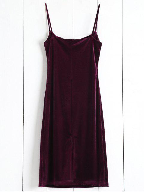 unique Solid Color Spaghetti Straps Velvet Dress - WINE RED ONE SIZE Mobile