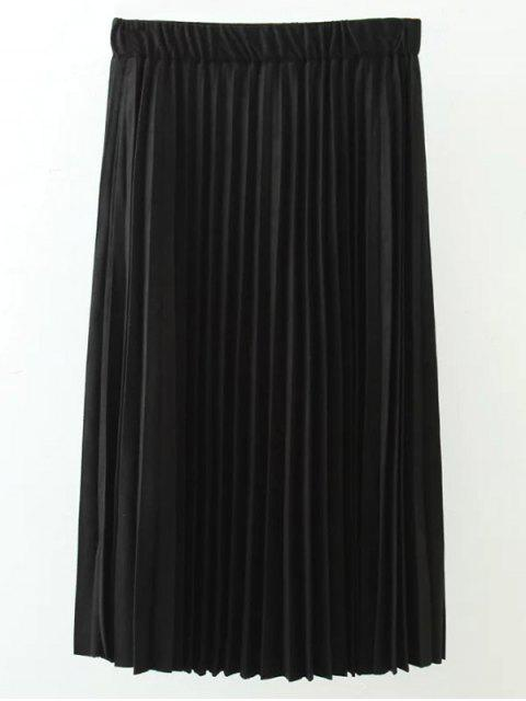 fancy Elastic Waist Pleated Faux Suede Skirt - BLACK XL Mobile