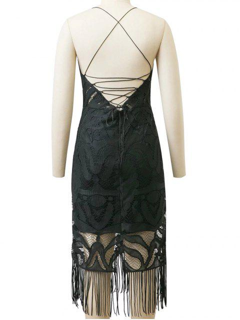online Lace Panel Fringed Strappy Backless Dress - BLACK S Mobile