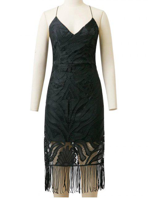 lady Lace Panel Fringed Strappy Backless Dress - BLACK L Mobile