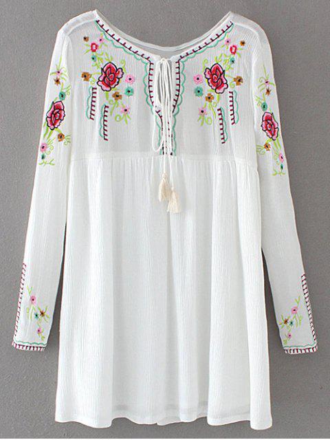 ladies Drawstring Embroidered Floral Smock Vintage Dress - WHITE M Mobile