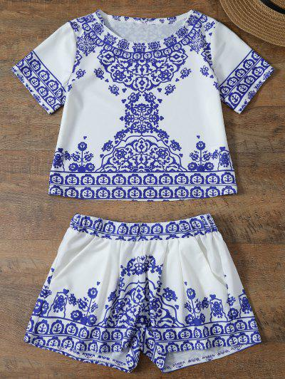 Cropped Short Sleeve T-Shirt And Shorts Set - Blue And White M