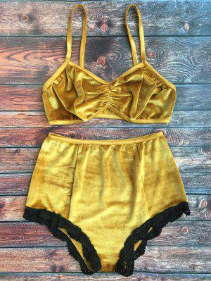 Lace Hem High Waisted Velvet Bra Set - Ginger L