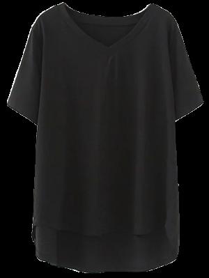 Alto Bajo Cuello En V Camiseta - Negro 2xl