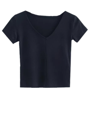 Recortada Hace Punto La Camiseta - Negro M