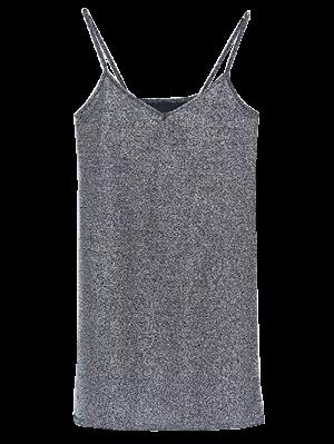 Mini-robe à Glissière Et Paillettes - Argent