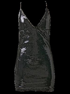 Robe Dos-nu Moulante De Soirée à Paillettes - Noir M