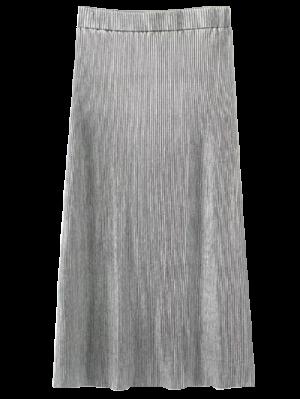 Glitter Plisado Falda De Midi - Plata M