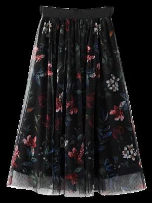 En Capas Falda De Flores De Tul - Negro L