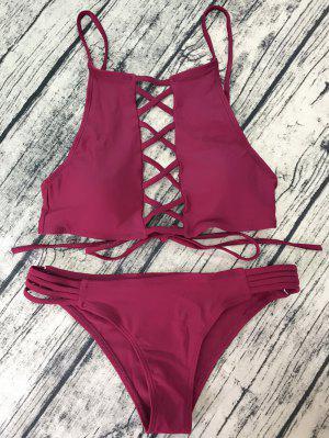 Bikini Con Cuello Alto Con Tira Cruzada - Vino Rojo L