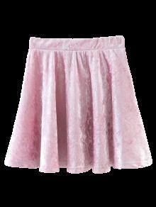 Velvet Mini A-Line Skirt - Pink S