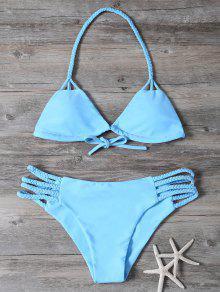 Trenzado Recorte Conjunto Bikini - Azul M