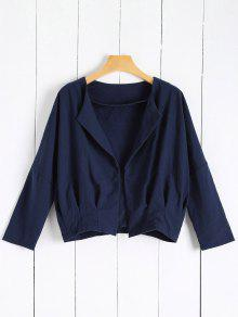 Solid Color Batwing Sleeve Round Neck Jacket - Deep Blue L