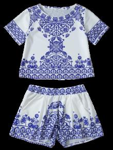 Cropped Short Sleeve T-Shirt And Shorts Set BLUE AND WHITE: Two ...