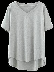 Camiseta Alto 2xl Gris Cuello En Bajo V qSSrIw