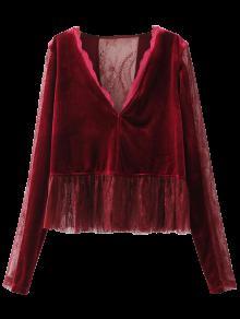 Ruffles Lace Panel Velvet Blouse - Wine Red S
