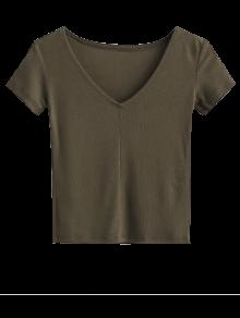 Cropped Knitting T-Shirt - Army Green M
