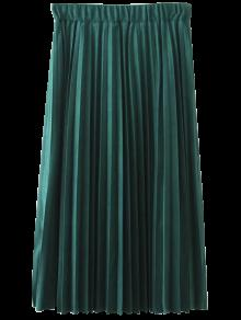 Eleasted Cintura Plisada Falda De Gamuza Sintética - Verde Negruzco 2xl