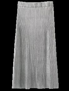 Glitter Pleated Midi Skirt - Silver M