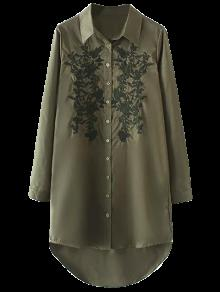 High Low Embroidered Tunic Shirt - Army Green M