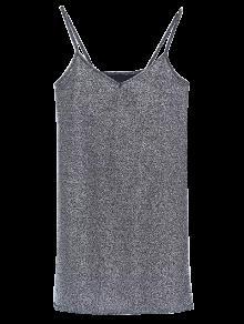 Glitter Slip Mini Dress - Silver