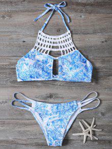 Ensemble De Bikini Coupé Avec Ficelle Imprimé En Motif - Bleu S