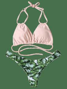 bf26916f4e14 Conjunto de bikini de talle bajo y estampado tropical