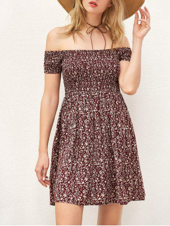 fashion Smocked Tiny Floral Print Off The Shoulder Dress - WINE RED S