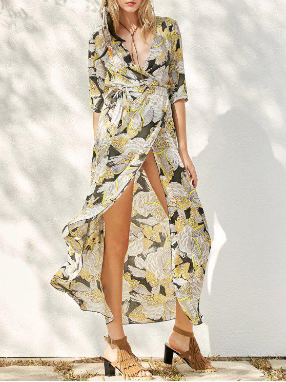 فستان طباعة انقسام ماكسي - الأصفر L