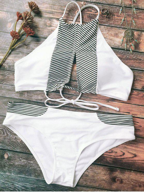 women Stripe High Neck Cutout Bikini - WHITE 2XL