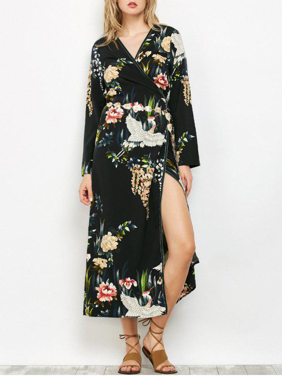 فستان طباعة شرقية ميدي لف - أسود M