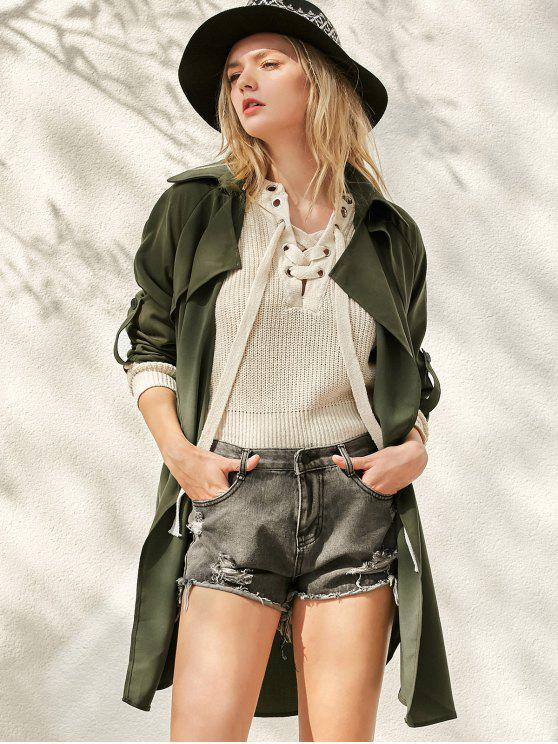 latest Buttoned Waterfall Trench Coat - ARMY GREEN S