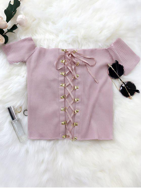 hot Lace Up Off The Shoulder Cropped Top - SUEDE ROSE ONE SIZE