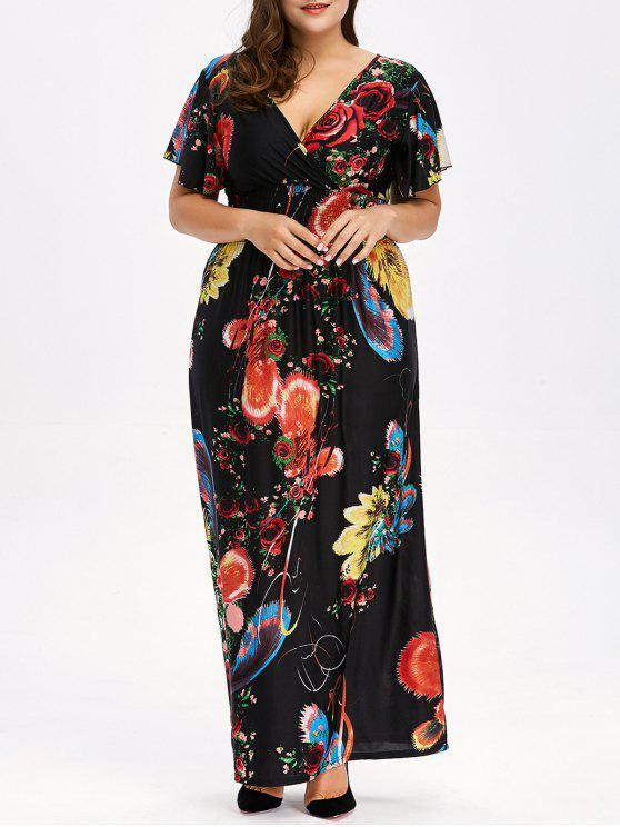 2018 Floral Plus Size Maxi V Neck Empire Waist Dress In Black 6xl