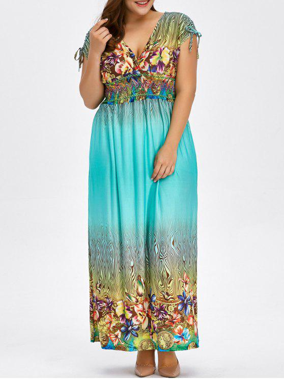 33% OFF] 2019 Floral Print Bohemian Plus Size Long Hawaiian Maxi ...