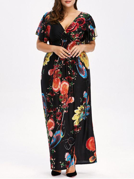 156f607d8310 35% OFF] 2019 Floral Plus Size Maxi V Neck Empire Waist Dress In ...