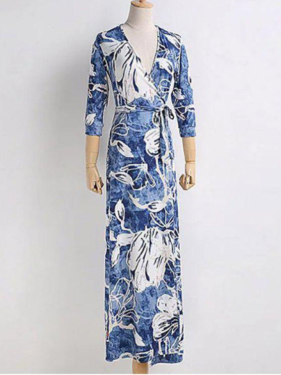 ladies Chinese Floral Painting Wrap Dress - BLUE S