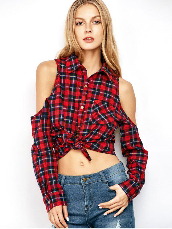 chic Cold Shoulder Gingham Belly Shirt - PLAID XL