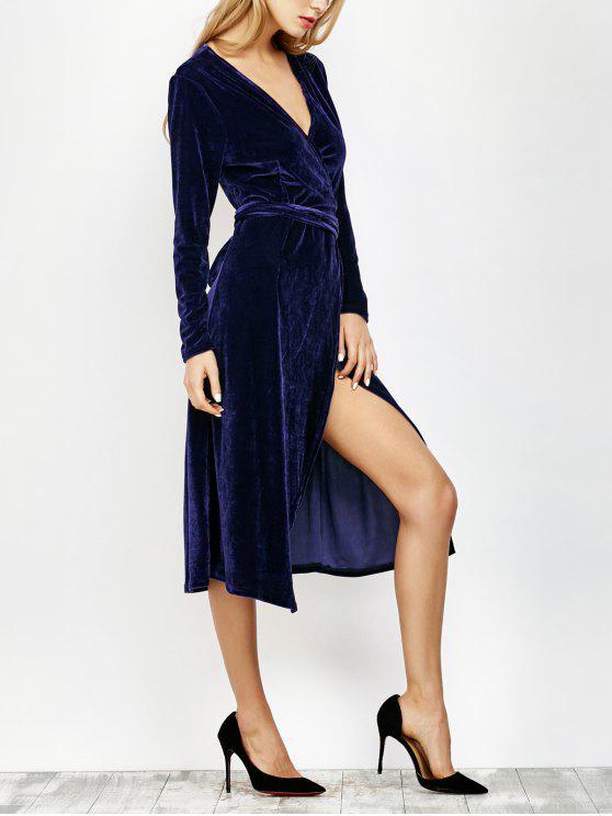 Cuello en V Vestido de corte largo abrigo de terciopelo - Marina de Guerra S