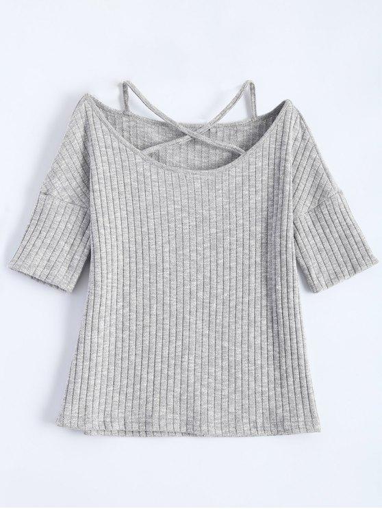 Criss-Cross acanalado Camiseta - Gris Claro L