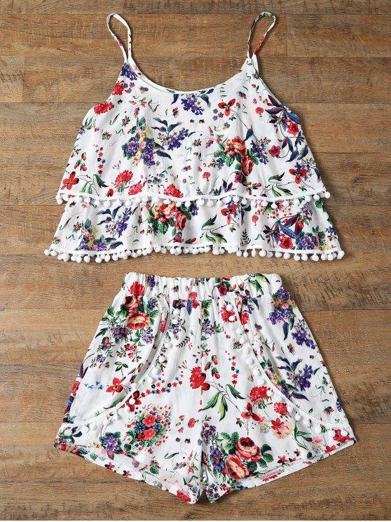 Floral Print Layered Cami Top et Short - Rouge L