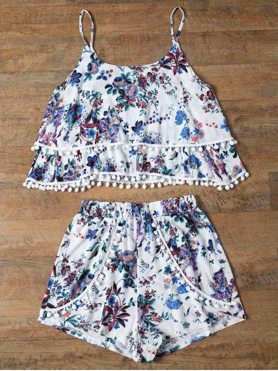 hot Floral Print Layered Cami Top and Shorts - BLUE XL