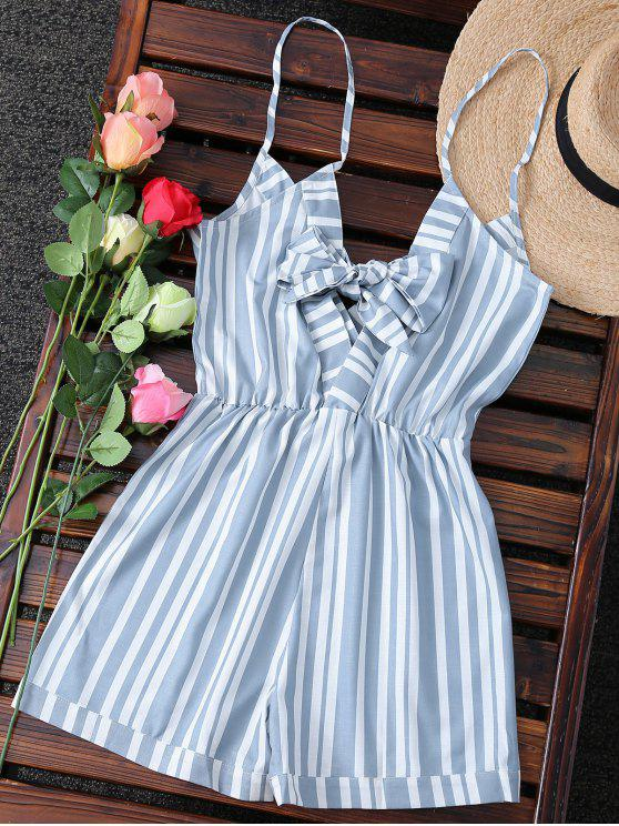 5a5da58a93e 25% OFF  2019 Striped Spaghetti Strap Back Knotted Romper In ...