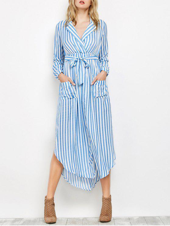 fancy Striped Slit Maxi Dress With Pockets - BLUE L