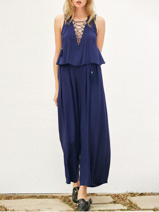 Layered Lace Up Palazzo Jumpsuit - Bleu Cadette L